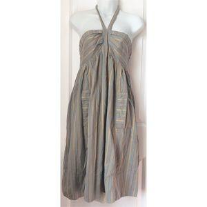 Marc By Marc Jacobs Poppy Stripe Gray Halter Dress